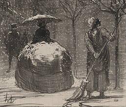 ドーミエ作 雪空のクリノリン・スカート