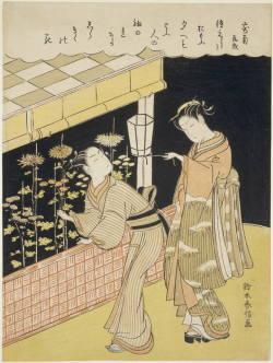 鈴木春信・絵「寄菊」夜菊を折り取る男女